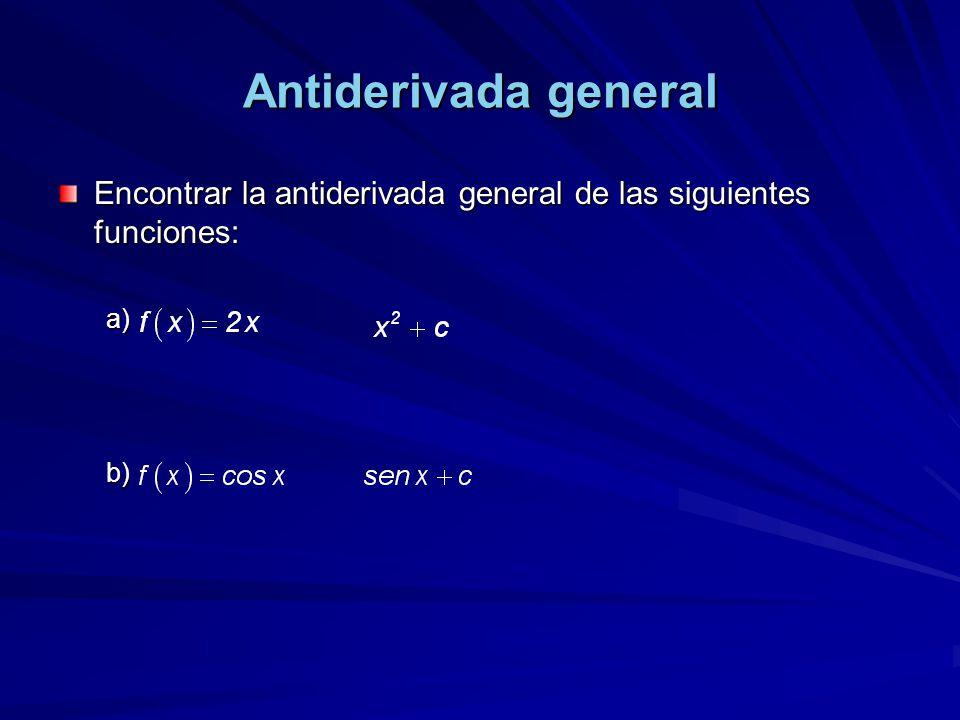 Antiderivada general Encontrar la antiderivada general de las siguientes funciones: .
