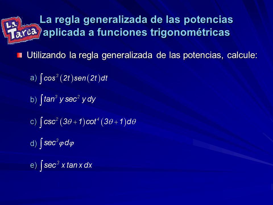 La regla generalizada de las potencias aplicada a funciones trigonométricas