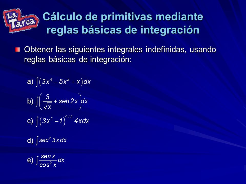 Cálculo de primitivas mediante reglas básicas de integración