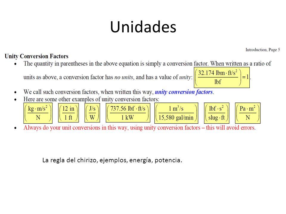 Unidades La regla del chirizo, ejemplos, energía, potencia.