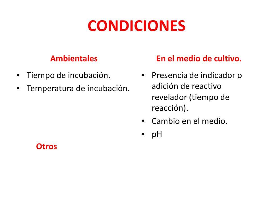 CONDICIONES Ambientales En el medio de cultivo. Tiempo de incubación.