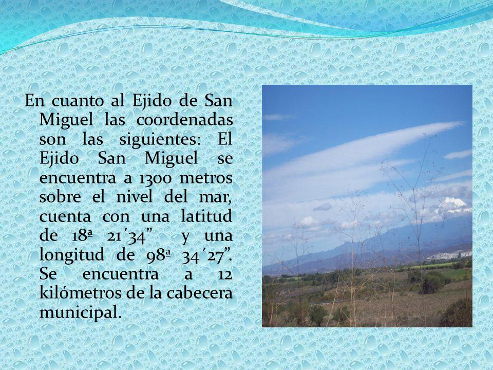 En cuanto al Ejido de San Miguel las coordenadas son las siguientes: El Ejido San Miguel se encuentra a 1300 metros sobre el nivel del mar, cuenta con una latitud de 18ª 21´34 y una longitud de 98ª 34´27 .