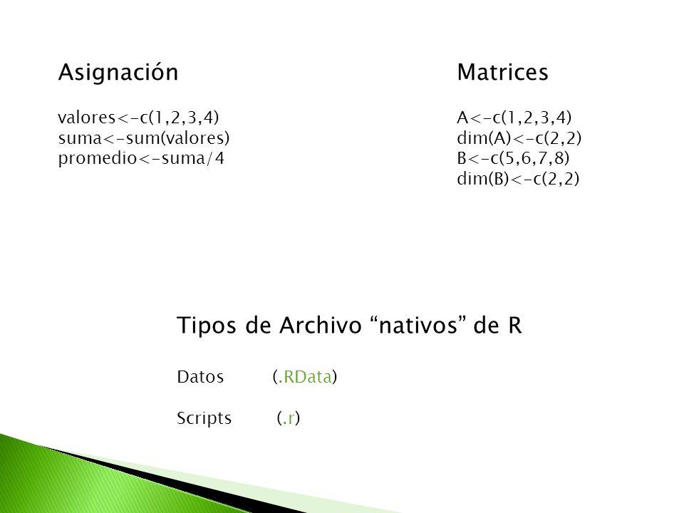 Tipos de Archivo nativos de R