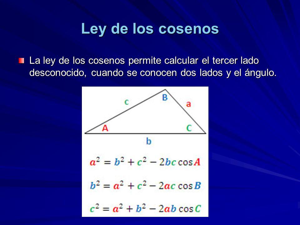 Ley de los cosenos La ley de los cosenos permite calcular el tercer lado desconocido, cuando se conocen dos lados y el ángulo.