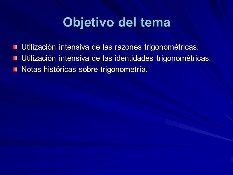 Objetivo del tema Utilización intensiva de las razones trigonométricas. Utilización intensiva de las identidades trigonométricas.