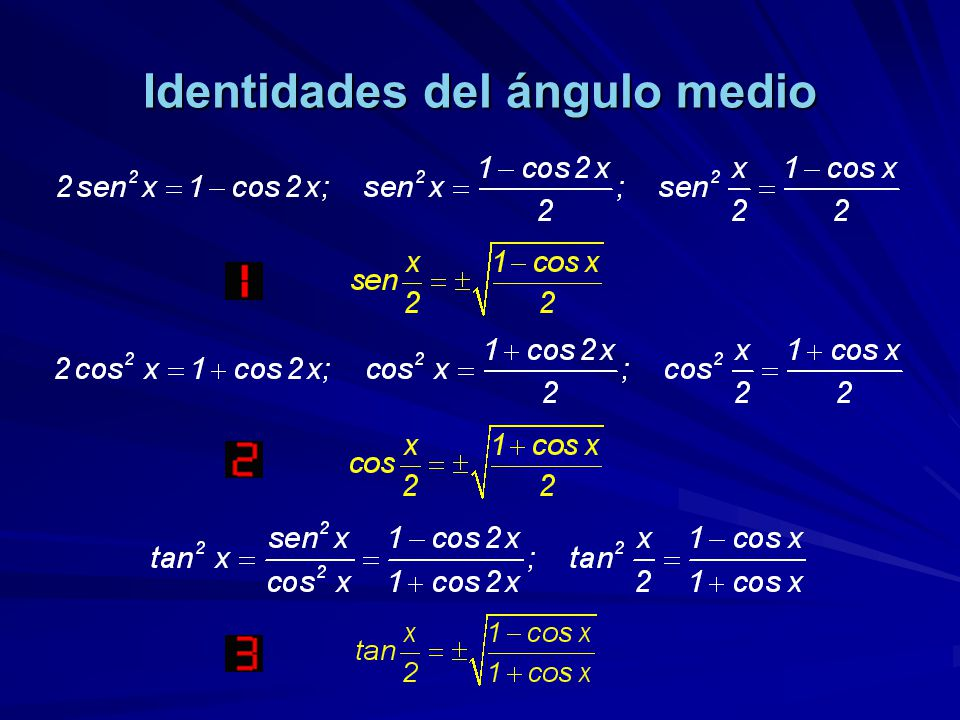 Identidades del ángulo medio