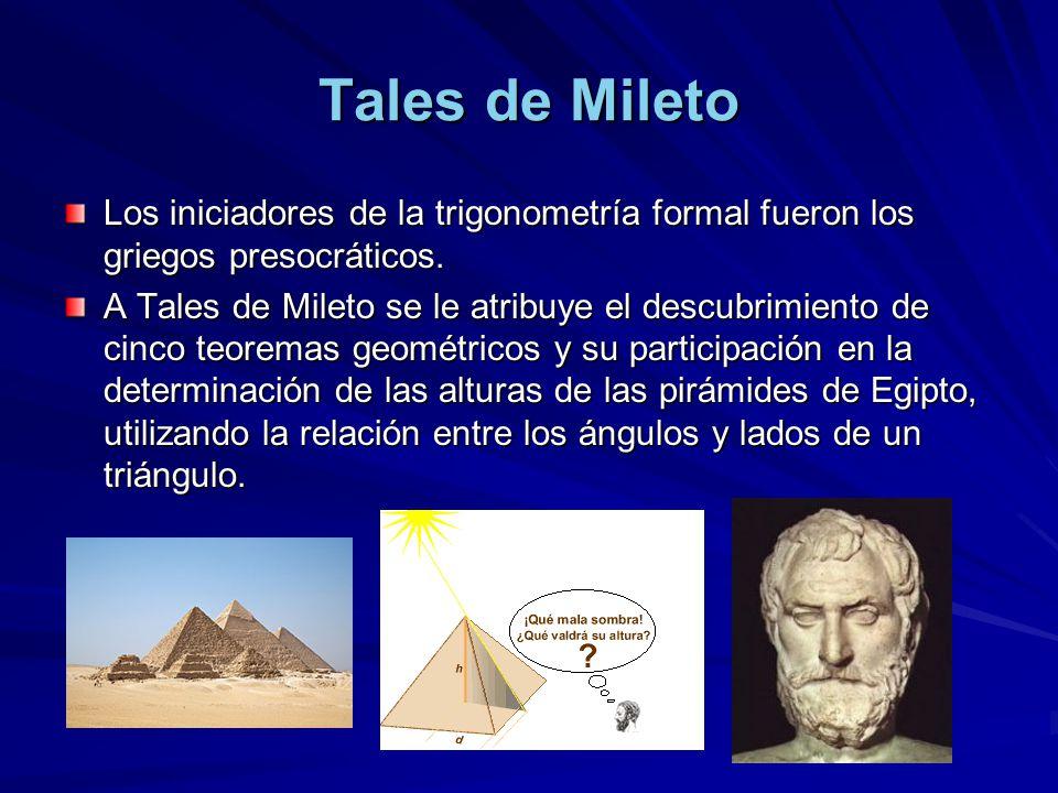 Tales de Mileto Los iniciadores de la trigonometría formal fueron los griegos presocráticos.