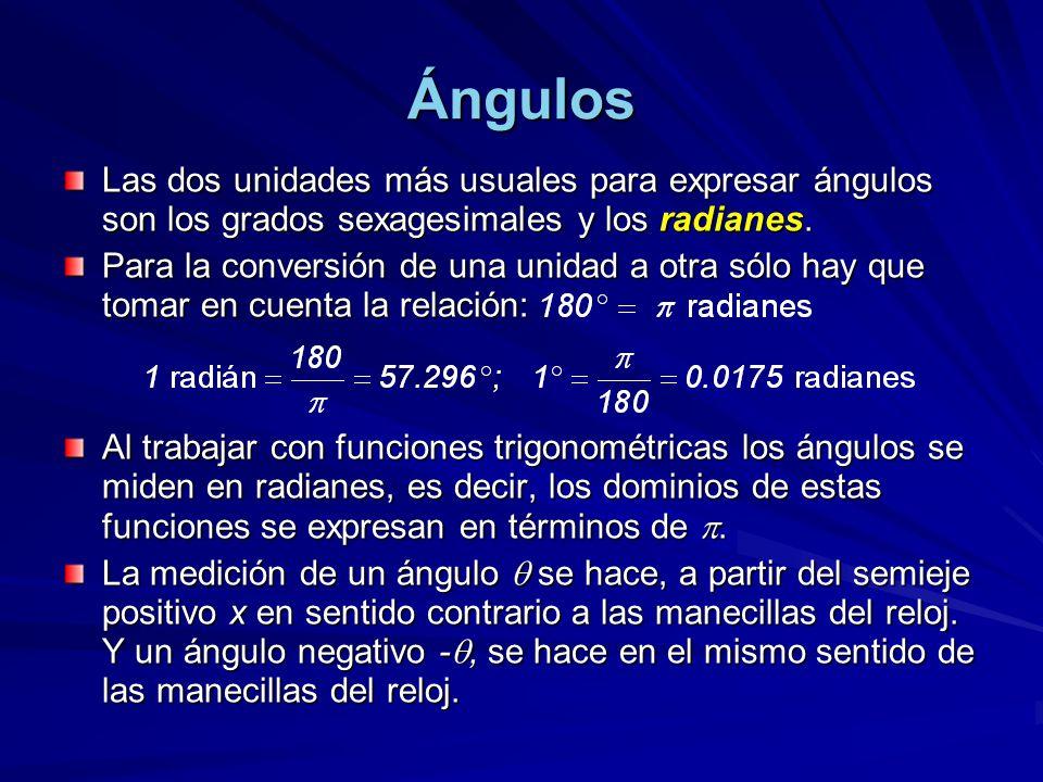 Ángulos Las dos unidades más usuales para expresar ángulos son los grados sexagesimales y los radianes.