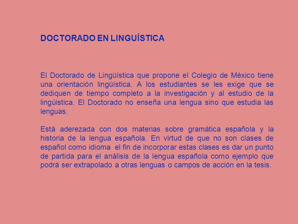 DOCTORADO EN LINGUÍSTICA