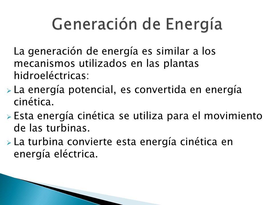Generación de Energía La generación de energía es similar a los mecanismos utilizados en las plantas hidroeléctricas: