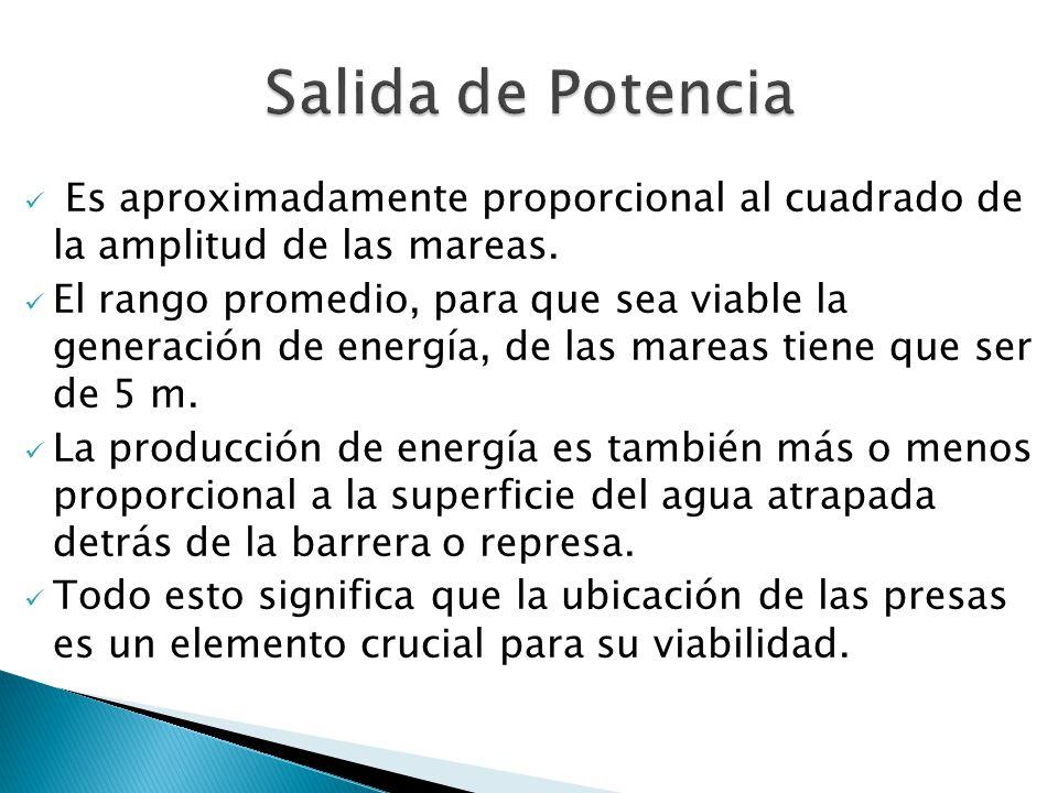 Salida de Potencia Es aproximadamente proporcional al cuadrado de la amplitud de las mareas.