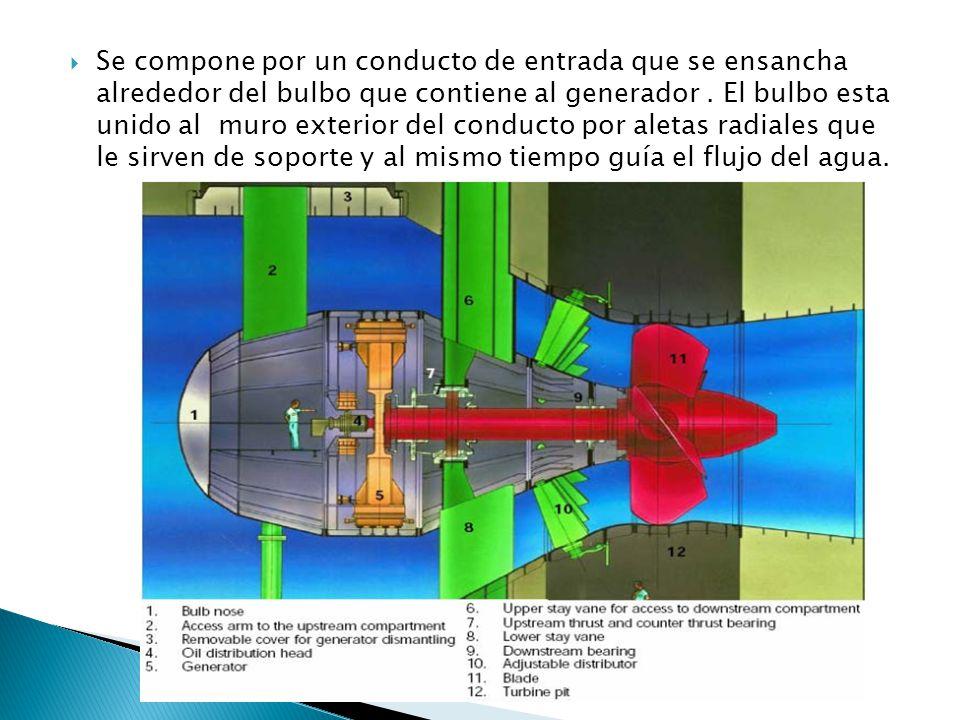 Se compone por un conducto de entrada que se ensancha alrededor del bulbo que contiene al generador .