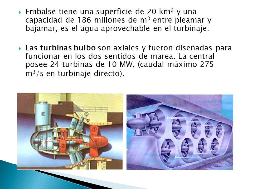 Embalse tiene una superficie de 20 km2 y una capacidad de 186 millones de m3 entre pleamar y bajamar, es el agua aprovechable en el turbinaje.