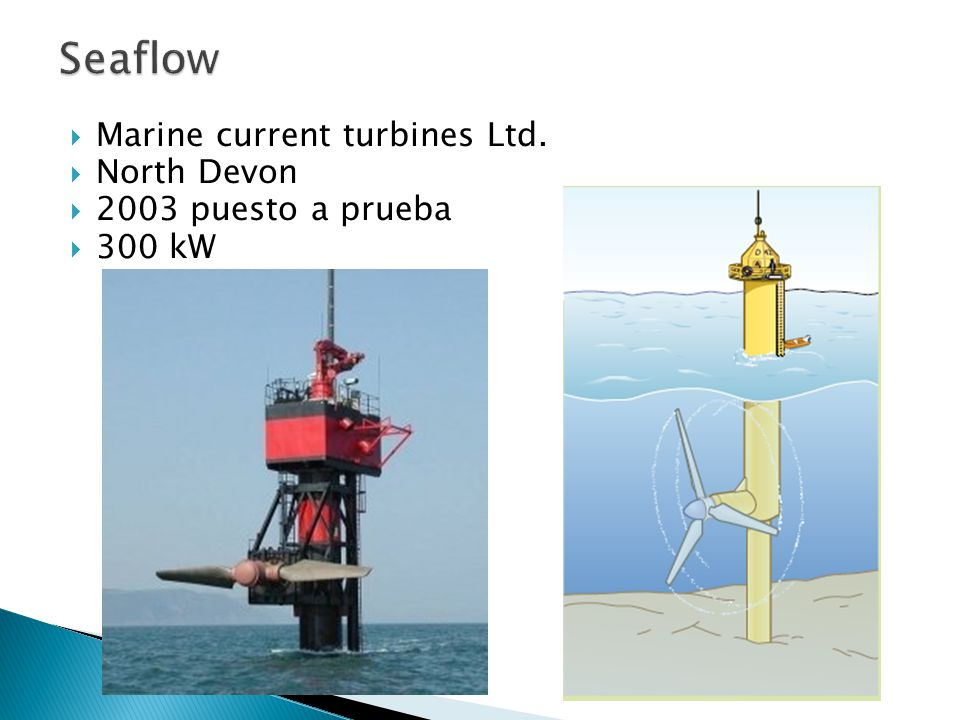 Seaflow Marine current turbines Ltd. North Devon 2003 puesto a prueba