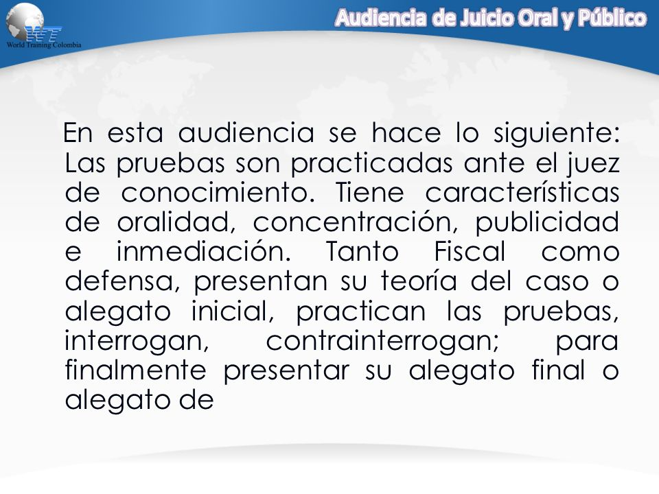 Audiencia de Juicio Oral y Público
