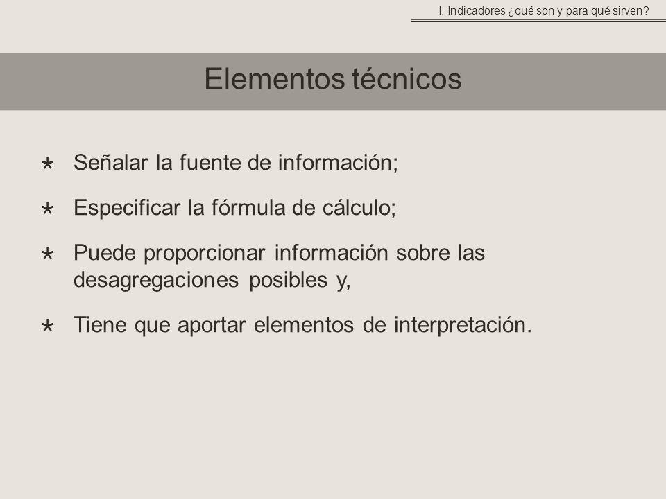 Elementos técnicos Señalar la fuente de información;