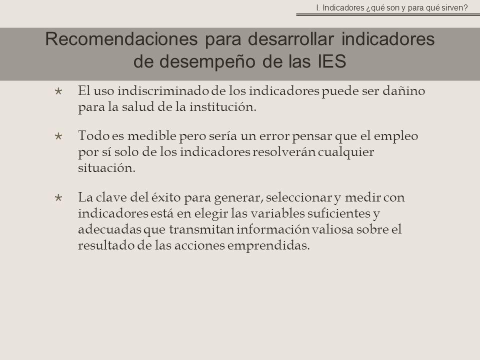 Recomendaciones para desarrollar indicadores de desempeño de las IES