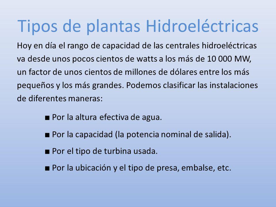 Tipos de plantas Hidroeléctricas