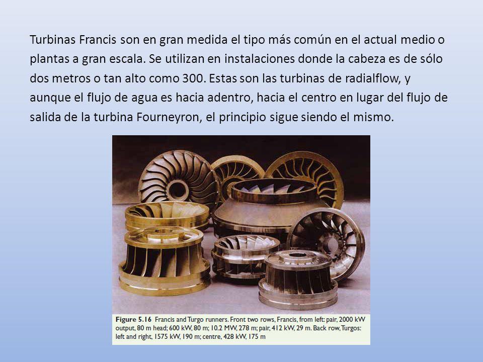 Turbinas Francis son en gran medida el tipo más común en el actual medio o plantas a gran escala.