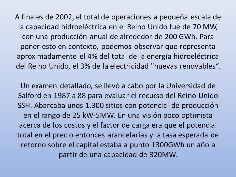 A finales de 2002, el total de operaciones a pequeña escala de la capacidad hidroeléctrica en el Reino Unido fue de 70 MW, con una producción anual de alrededor de 200 GWh.