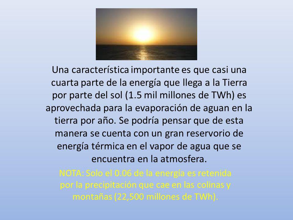 Una característica importante es que casi una cuarta parte de la energía que llega a la Tierra por parte del sol (1.5 mil millones de TWh) es aprovechada para la evaporación de aguan en la tierra por año. Se podría pensar que de esta manera se cuenta con un gran reservorio de energía térmica en el vapor de agua que se encuentra en la atmosfera.