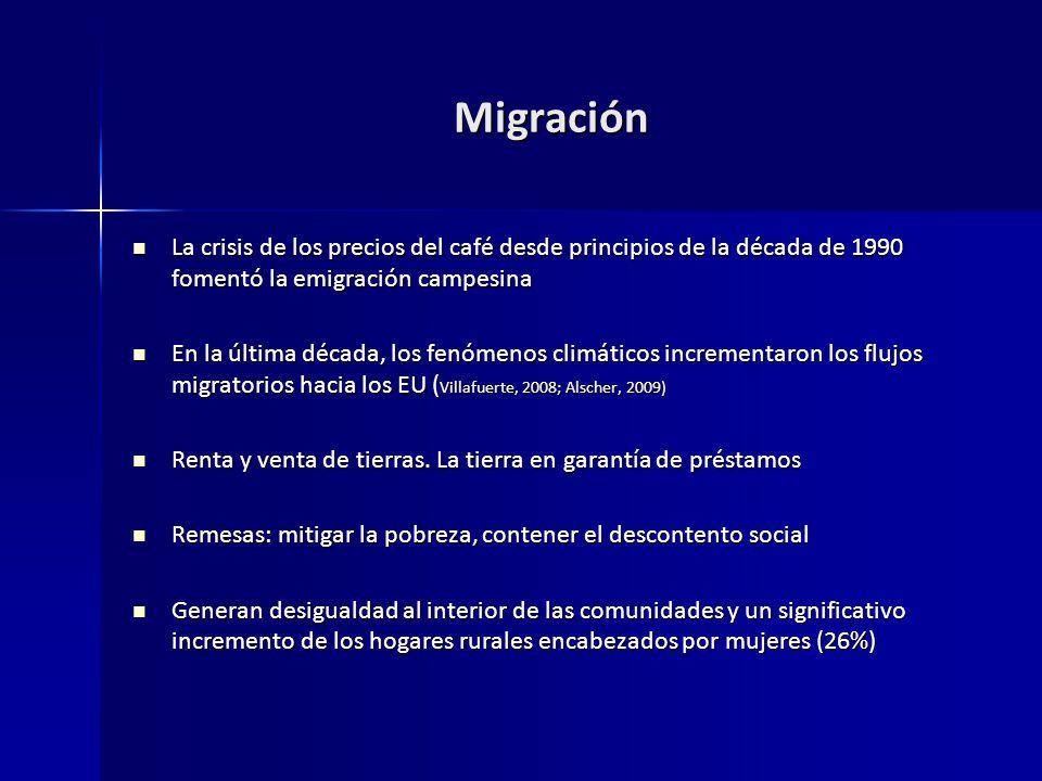 Migración La crisis de los precios del café desde principios de la década de 1990 fomentó la emigración campesina.