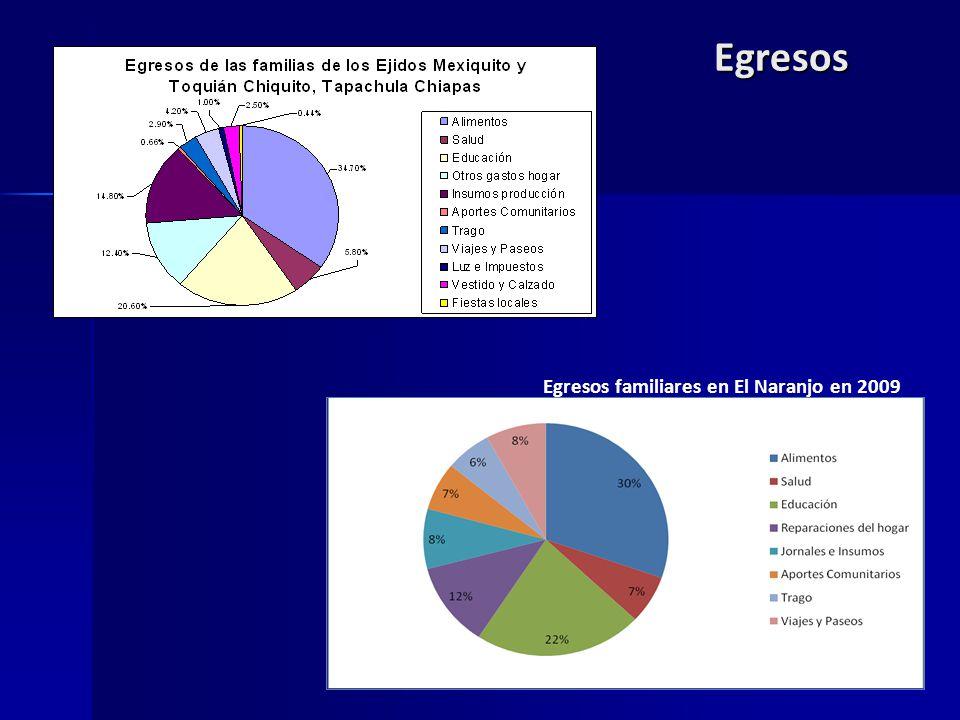 Egresos Egresos familiares en El Naranjo en 2009
