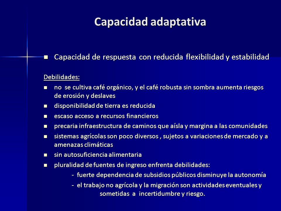 Capacidad adaptativa Capacidad de respuesta con reducida flexibilidad y estabilidad. Debilidades: