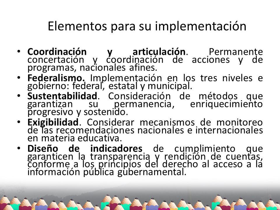 Elementos para su implementación