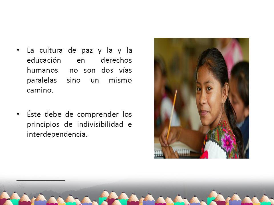 La cultura de paz y la y la educación en derechos humanos no son dos vías paralelas sino un mismo camino.