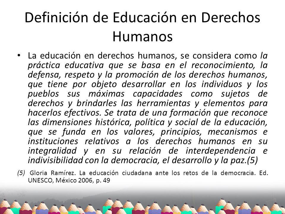 Definición de Educación en Derechos Humanos