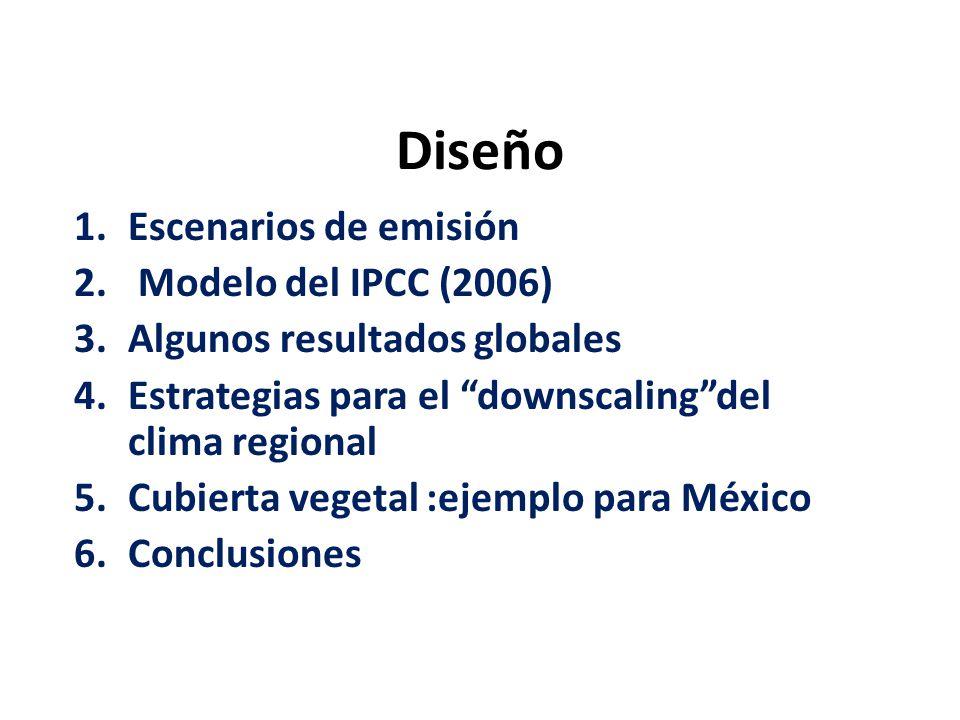 Diseño Escenarios de emisión Modelo del IPCC (2006)