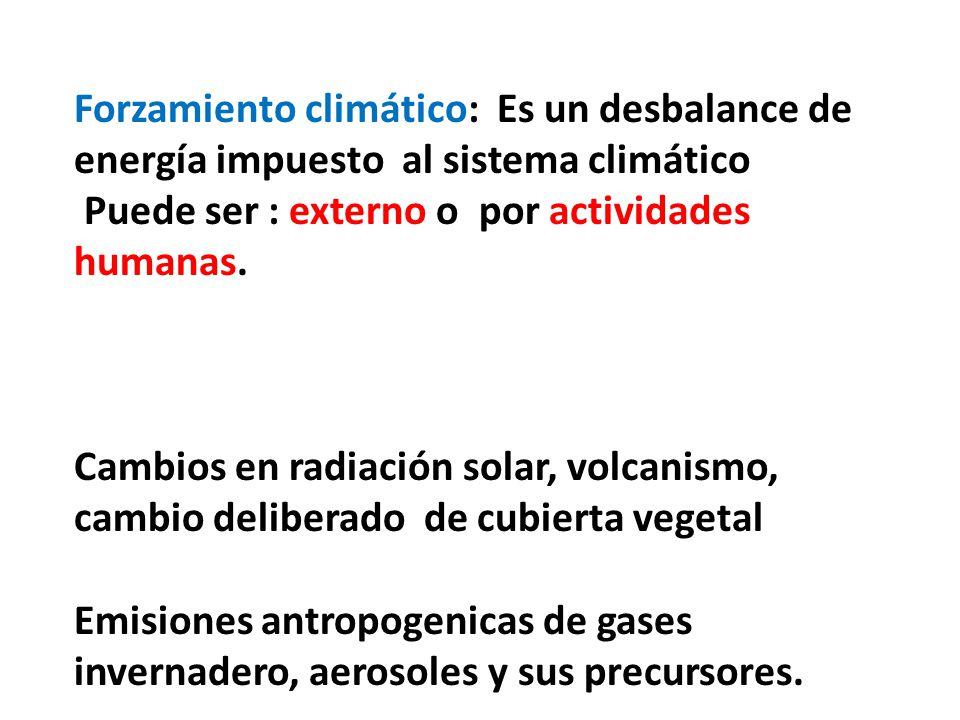 Forzamiento climático: Es un desbalance de energía impuesto al sistema climático