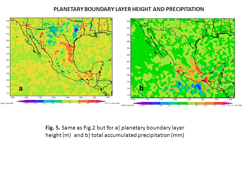 a b PLANETARY BOUNDARY LAYER HEIGHT AND PRECIPITATION