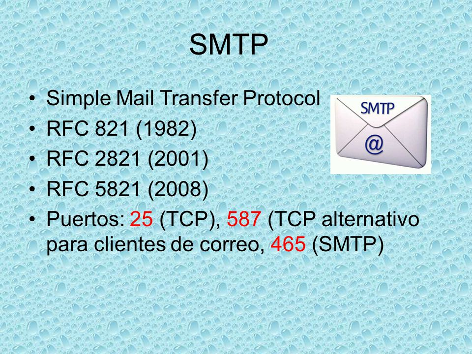 SMTP Simple Mail Transfer Protocol RFC 821 (1982) RFC 2821 (2001)