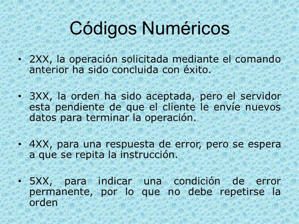 Códigos Numéricos 2XX, la operación solicitada mediante el comando anterior ha sido concluida con éxito.