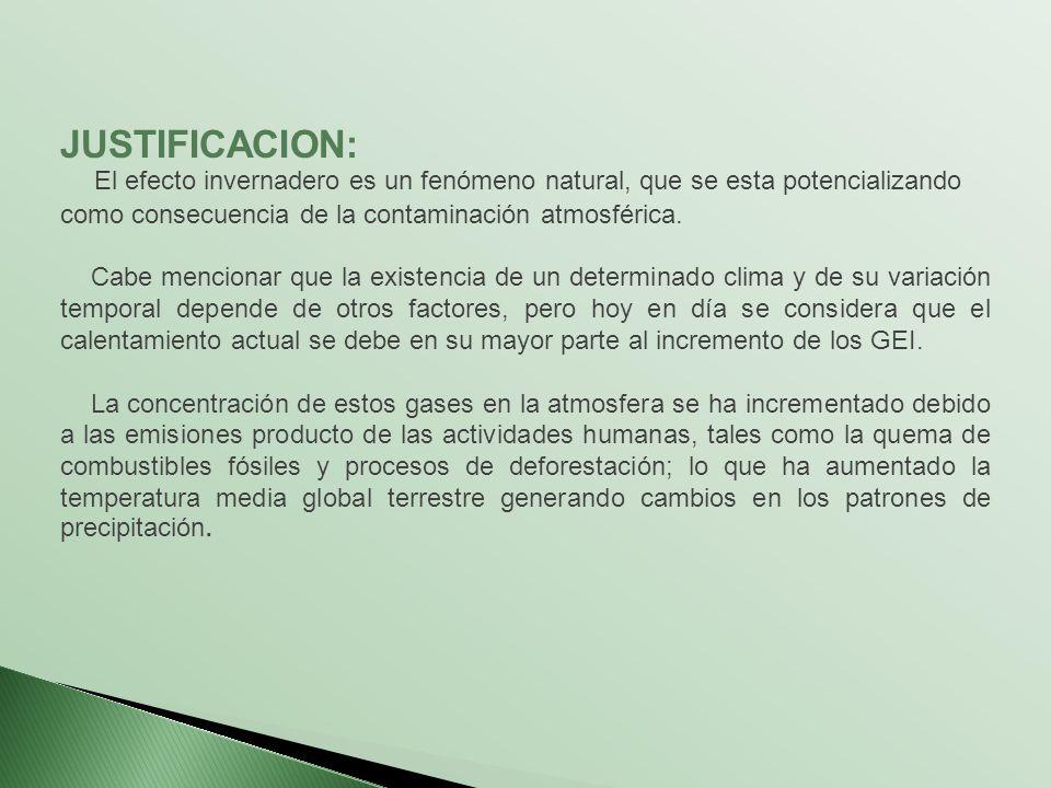 JUSTIFICACION: El efecto invernadero es un fenómeno natural, que se esta potencializando como consecuencia de la contaminación atmosférica.