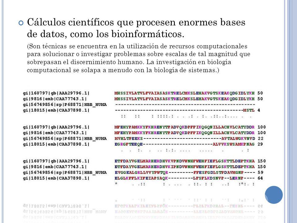 Cálculos científicos que procesen enormes bases de datos, como los bioinformáticos.