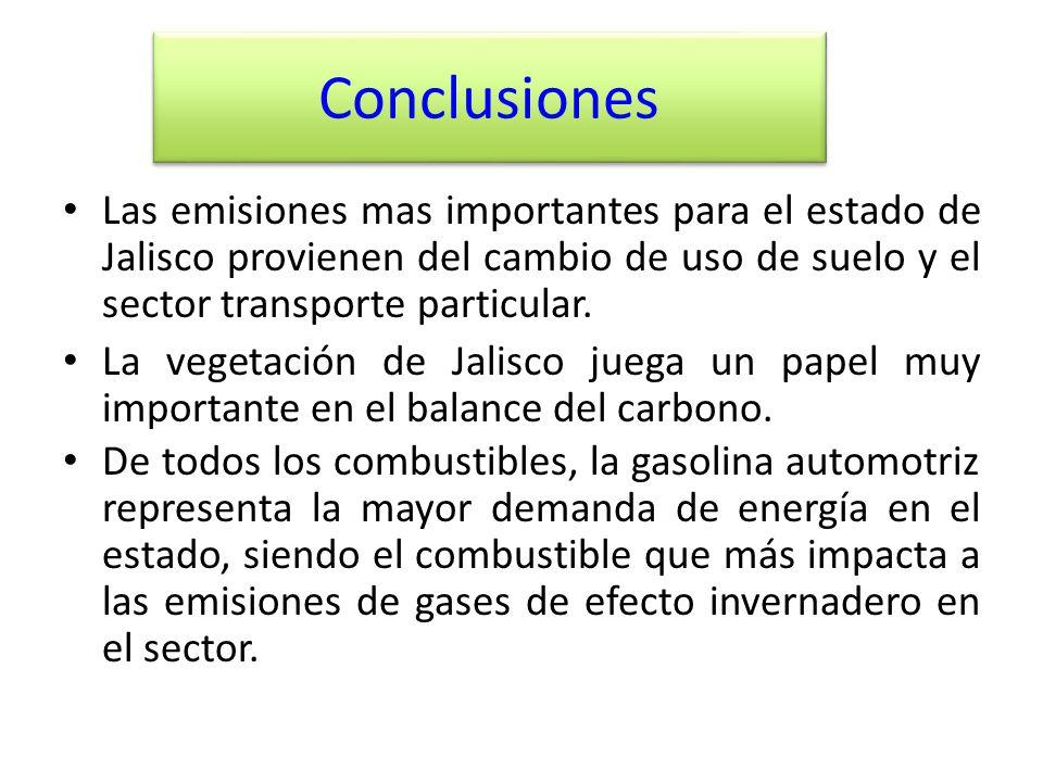 Conclusiones Las emisiones mas importantes para el estado de Jalisco provienen del cambio de uso de suelo y el sector transporte particular.