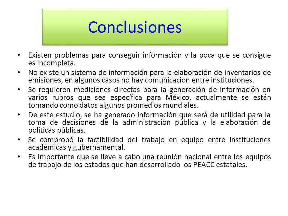 Conclusiones Existen problemas para conseguir información y la poca que se consigue es incompleta.