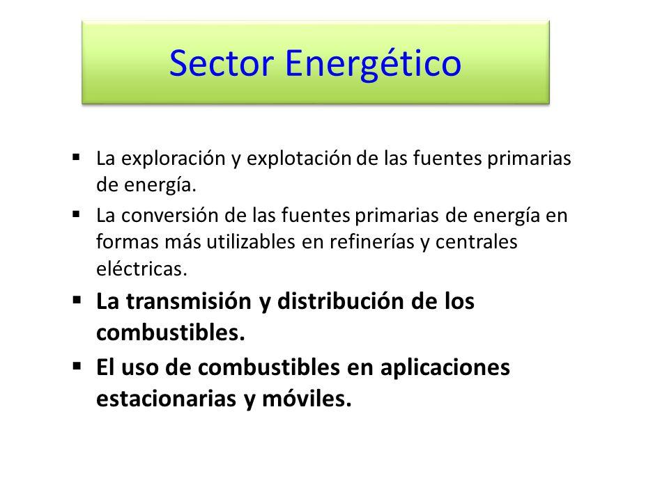 Sector Energético La transmisión y distribución de los combustibles.