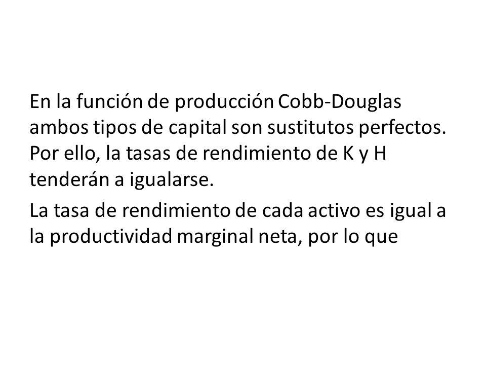 En la función de producción Cobb-Douglas ambos tipos de capital son sustitutos perfectos. Por ello, la tasas de rendimiento de K y H tenderán a igualarse.