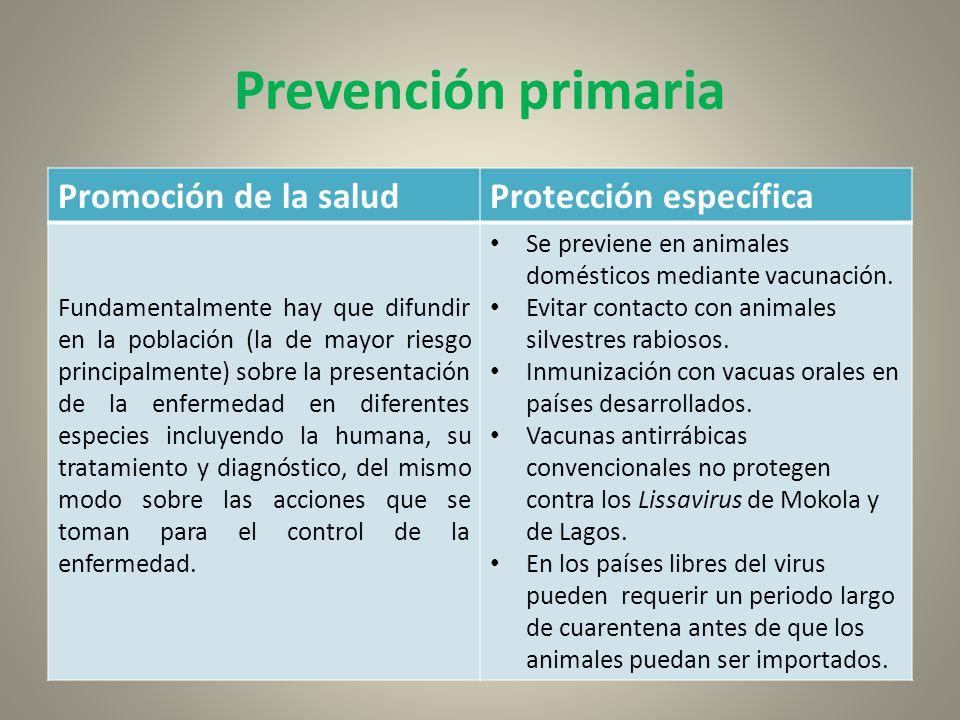 Prevención primaria Promoción de la salud Protección específica