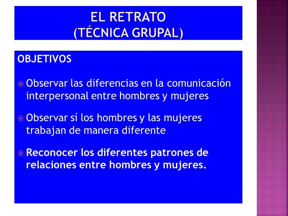 EL RETRATO (TÉCNICA GRUPAL)
