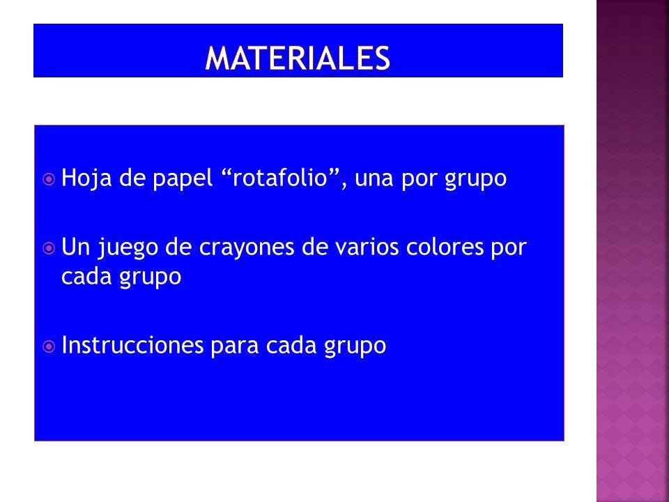 MATERIALES Hoja de papel rotafolio , una por grupo