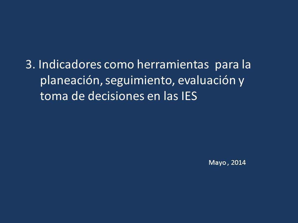 3. Indicadores como herramientas para la planeación, seguimiento, evaluación y toma de decisiones en las IES