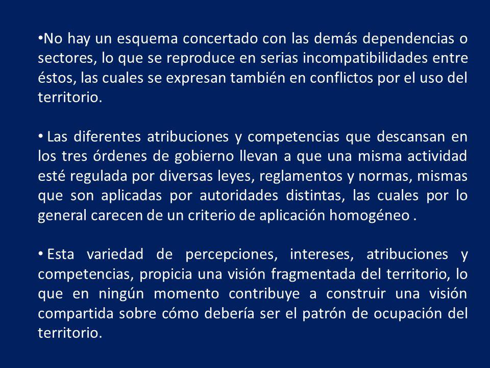 No hay un esquema concertado con las demás dependencias o sectores, lo que se reproduce en serias incompatibilidades entre éstos, las cuales se expresan también en conflictos por el uso del territorio.