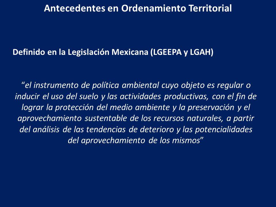 Antecedentes en Ordenamiento Territorial
