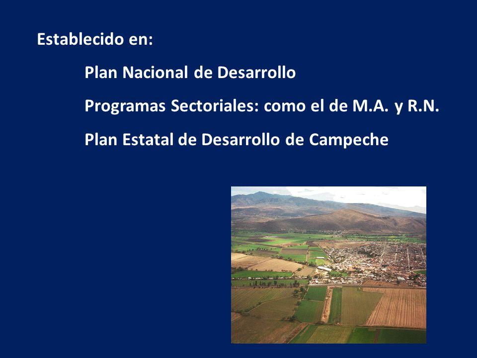 Establecido en: Plan Nacional de Desarrollo. Programas Sectoriales: como el de M.A.