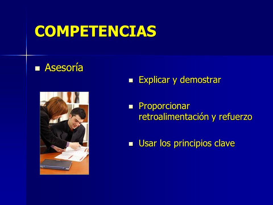 COMPETENCIAS Asesoría Explicar y demostrar